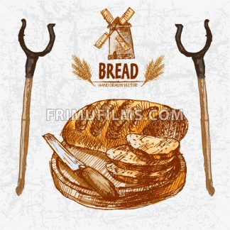 Digital color vector detailed line art golden loaf of baton bread sliced with wooden knife on chopping board, oven fork hand drawn set. Vintage ink flat, engraved mill doodle sketches. Isolated - frimufilms.com