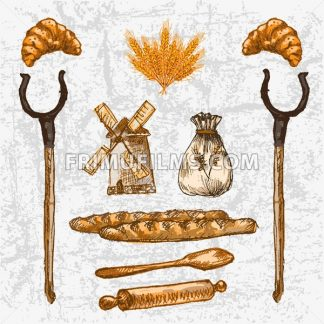 Digital color vector detailed line art golden loaves of baguettes, croissants, oven forks, rolling pin and wooden paddle hand drawn set. Vintage ink flat, mill doodle bakery sketches. Isolated - frimufilms.com