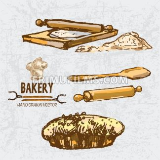 Digital color vector detailed line art golden pie with sesame, wooden paddle, oven forks, rolling pin on chopping board and flour hand drawn set. Vintage ink flat, engraved doodle sketches. Isolated - frimufilms.com