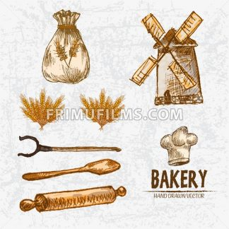 Digital color vector detailed line art golden wheat, oven fork, wooden paddle and rolling pin, flour sack with drawings hand drawn set outlined. Vintage ink flat, mill doodle bakery sketches. Isolated - frimufilms.com