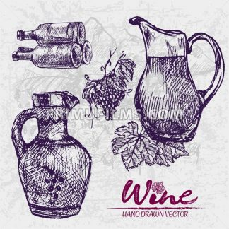 Digital color vector detailed line art ornamented and transparent pitchers, wine bottles stacked and bunches with leaves hand drawn set. Vintage ink flat, engraved doodle sketches. Vineyard background - frimufilms.com