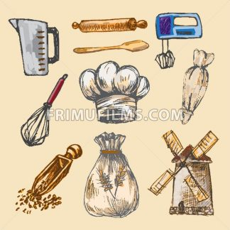 Digital color vector detailed line art pastry cream bag, chef hat, rolling pins, mixer, wheat, measuring cup and flour sack hand drawn set. Vintage ink flat, engraved mill doodle sketches. Isolated - frimufilms.com