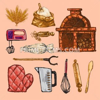Digital color vector detailed line art pastry cream bag, oven glove, rolling pins, mixer, wheat, measuring cup and flour sack hand drawn set. Vintage ink flat, engraved mill doodle sketches. Isolated - frimufilms.com