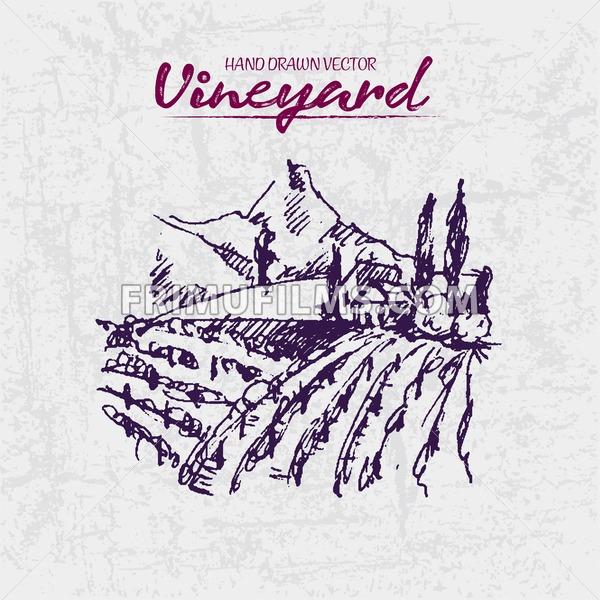 Digital color vector detailed line art purple vineyard fields on mountains background hand drawn illustration set. Thin artistic pencil outline. Vintage ink flat, engraved doodle sketches. Isolated - frimufilms.com