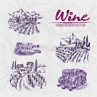 Digital color vector detailed line art purple vineyard fields, wine and barrels stacked hand drawn illustration set. Thin artistic pencil outline. Vintage ink flat, engraved doodle sketches. Isolated - frimufilms.com