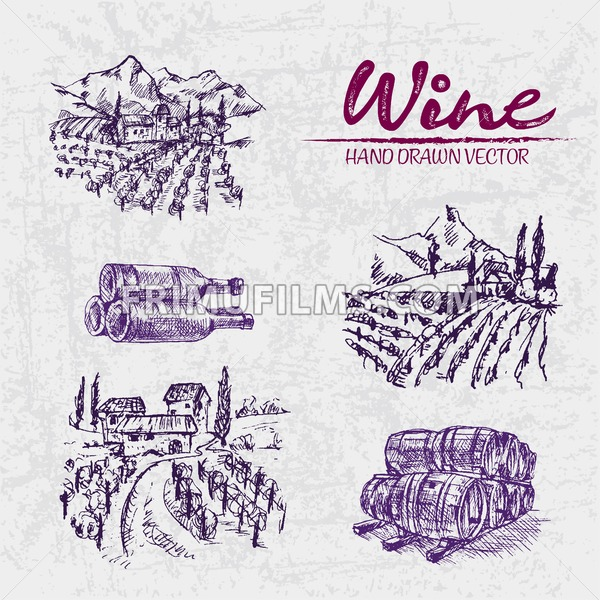 Digital color vector detailed line art purple vineyard fields, wine and barrels stacked hand drawn illustration set. Thin artistic pencil outline. Vintage ink flat, engraved doodle sketches. Isolated - frimufilms.com