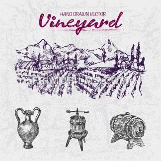 Digital color vector detailed line art purple wooden wine barrel, pitcher and wine press hand drawn illustration set. Thin outline. Vintage ink flat, engraved doodle sketches. Vineyard background - frimufilms.com
