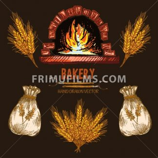 Digital color vector detailed line art red brick oven with woods on fire, golden wheat and flour sacks hand drawn retro illustration set outlined. Vintage ink flat, engraved doodle sketches. Isolated - frimufilms.com