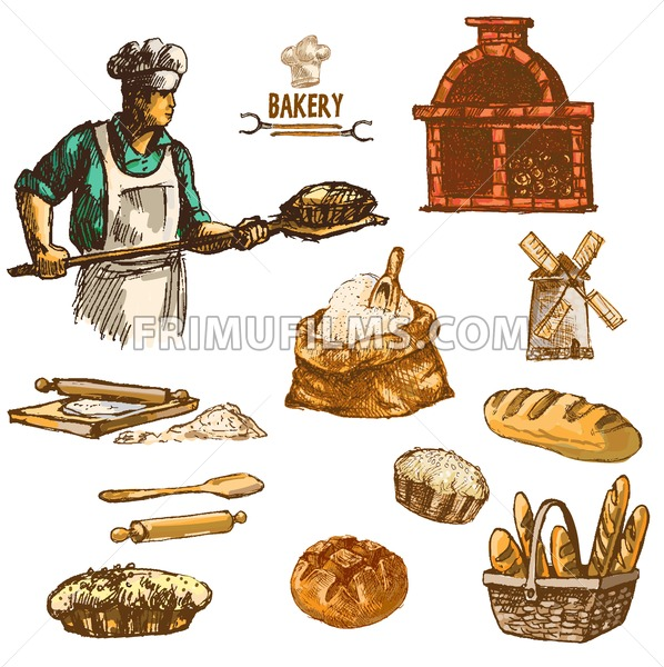 Digital color vector detailed line art round bread, baker wheat an red brick oven with woods prepared for fire hand drawn illustration set. Vintage ink flat, engraved mill doodle sketches. Isolated - frimufilms.com