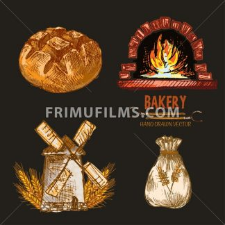 Digital color vector detailed line art round bread, flour sack, red brick oven with woods on fire hand drawn retro illustration set outlined. Vintage ink flat, engraved mill doodle sketches. Isolated - frimufilms.com