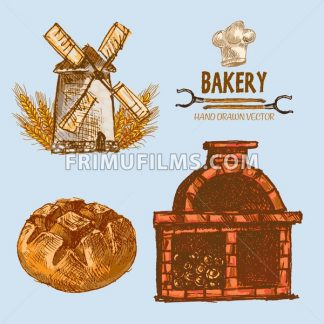 Digital color vector detailed line art round bread, wheat an red brick oven with woods prepared for fire hand drawn illustration set. Vintage ink flat, engraved mill doodle sketches. Isolated - frimufilms.com