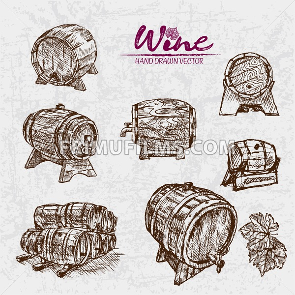 Digital color vector detailed line art wine barrels of different sizes and shapes hand drawn retro illustration set. Thin pencil artistic outline. Vintage ink flat, engraved doodle sketches. Isolated - frimufilms.com