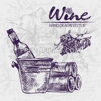 Digital color vector detailed line art wine bottle in ice bucket, stacked and black grape bunch with leaves hand drawn illustration set outlined. Vintage ink flat, engraved doodle sketches. Isolated - frimufilms.com
