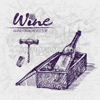 Digital color vector detailed line art wine bottle in wood box and corkscrew with cork hand drawn illustration set. Thin pencil artistic outline. Vintage ink flat, engraved doodle sketches. Isolated - frimufilms.com