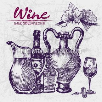 Digital color vector detailed line art wine old ancient pitchers, bottle, glass half full and leaves hand drawn retro illustration set. Vintage ink flat, engraved doodle sketches. Vineyard background - frimufilms.com