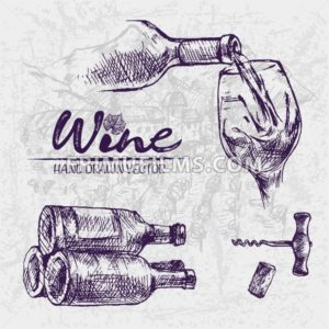 Digital color vector detailed line art wine pouring from bottle to glass, stacked and corkscrew hand drawn illustration set. Thin artistic outline. Vintage ink flat, engraved doodle sketches. Isolated - frimufilms.com