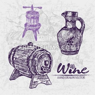 Digital color vector detailed line art wooden barrel with tap, pitcher and wine press hand drawn illustration set. Thin pencil artistic outline. Vintage ink flat, engraved doodle sketches. Isolated - frimufilms.com