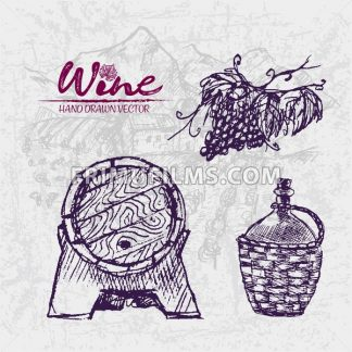 Digital color vector detailed line art wooden wine barrel with tap, old pitcher and grape bunch hand drawn retro illustration set. Thin outline. Vintage ink flat, engraved doodle sketches. Isolated - frimufilms.com