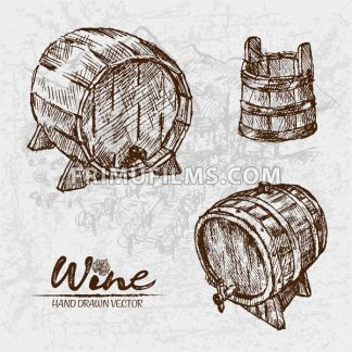 Digital color vector detailed line art wooden wine barrels with tap and bucket hand drawn retro illustration set. Thin pencil artistic outline. Vintage ink flat, engraved doodle sketches. Isolated - frimufilms.com