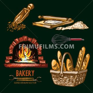 Digital color vector detailed wooden scoop, flour, rolling pin, baguettes in wooden basket and red brick oven with burning woods hand drawn. Vintage ink flat, engraved doodle sketches. Isolated - frimufilms.com
