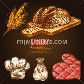 Digital color vector line art round bread, wheat, oven forks, red brick oven with woods on fire, bakery utensils and ingredients hand drawn retro set. Vintage engraved doodle sketches. Isolated - frimufilms.com