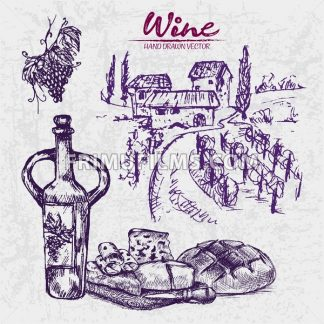 Digital color vector line art wine ancient pitcher, sliced cheese appetizer, knife, grape bunch and round bread hand drawn retro set. Vintage ink flat, engraved doodle sketches. Vineyard background - frimufilms.com