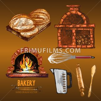 Digital color vector red brick oven with woods on fire, measuring cup, round sliced bread, rolling pin, wooden paddle, whisk hand drawn set. Vintage ink flat, engraved doodle sketches. Isolated - frimufilms.com