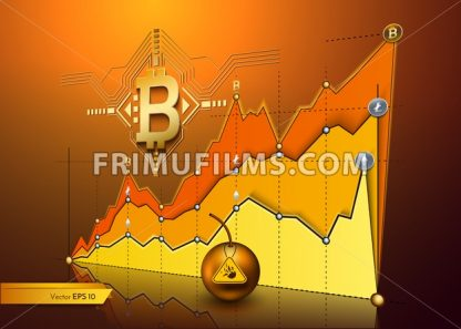 Digital vector bitcoin cryptocurrency chart diagram graphic payments money transfer - frimufilms.com