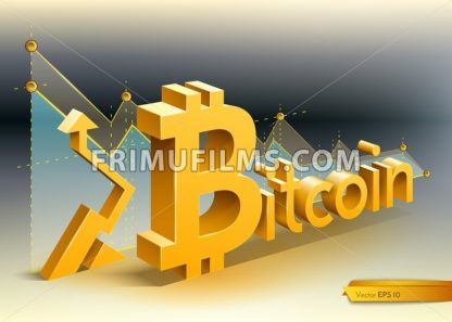 Digital vector bitcoin cryptocurrency chart diagram graphic payments money transfers financial concept - frimufilms.com