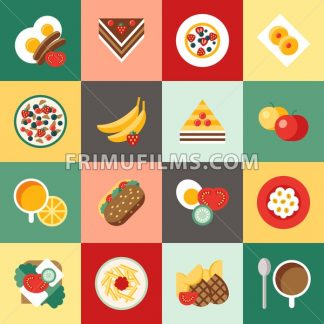 Digital vector breakfast meal fresh food and drinks color simple flat icon set with coffee eags, fruits and sweet cakes, isolated - frimufilms.com
