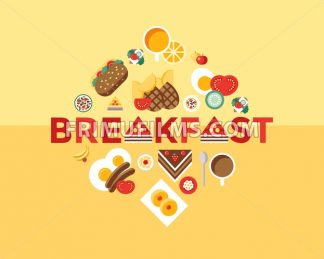 Digital vector breakfast meal fresh food and drinks color simple flat icon set with coffee eags, fruits and sweet cakes, isolated infographics - frimufilms.com