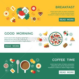 Digital vector breakfast meal fresh food and drinks color simple flat icon set with coffee eags, fruits and sweet cakes, isolated infographics website design - frimufilms.com