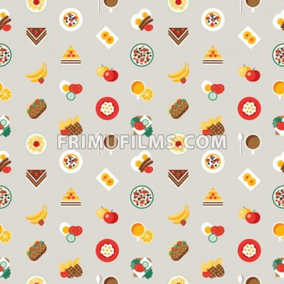 Digital vector breakfast meal fresh food and drinks color simple flat icon set with coffee eags, fruits and sweet cakes, seamless pattern, isolated - frimufilms.com