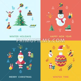 Digital vector christmas and happy new year holidays set collection decoration objects color simple flat icon with fir tree, isolated - frimufilms.com