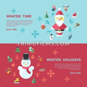 Digital vector christmas and new year holidays infographics set collection decoration objects color simple flat icon with fir tree, isolated - frimufilms.com