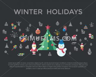 Digital vector christmas and new year holidays set collection decoration objects color simple flat icon with fir tree, isolated - frimufilms.com