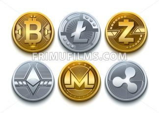 Digital vector cryptocurrency set icons. Bitcoin, Ethereum, Litecoin, Monero, Ripple and Zcash detailed coins illustration - frimufilms.com