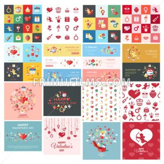 Digital vector february happy valentine day and wedding celebration color simple flat icon set with red heart, angel and love isolated - frimufilms.com