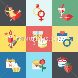 Digital vector february happy valentine's day and wedding celebration color simple flat icon set with red heart, angel and love isolated - frimufilms.com