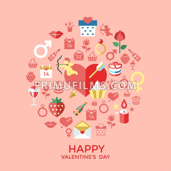 Digital vector february happy valentine's day and wedding celebration color simple flat icon set with red heart, angel and love isolated infographics - frimufilms.com
