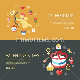 Digital vector february happy valentine's day and wedding celebration color simple flat icon set with red heart, angel and love isolated infographics website design - frimufilms.com