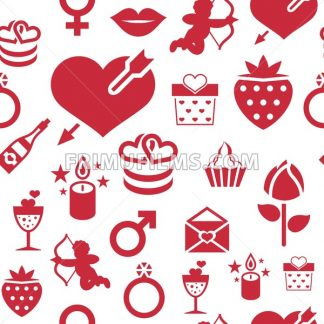 Digital vector february happy valentine's day and wedding celebration color simple flat icon set with red heart, angel and love isolated seamless pattern - frimufilms.com