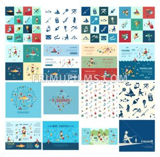 Digital vector fishing activity bundle set collection decoration objects color simple flat icon with holding net or rod, isolated - frimufilms.com