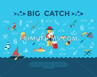 Digital vector fishing activity infographics set collection decoration objects color simple flat icon with holding net or rod, big catch, isolated - frimufilms.com