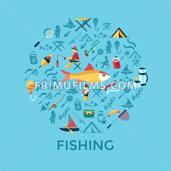 Digital vector fishing activity infographics set collection decoration objects color simple flat icon with holding net or rod, isolated - frimufilms.com