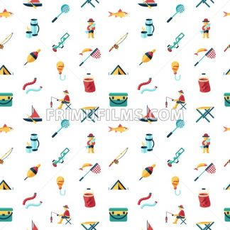 Digital vector fishing activity set collection decoration objects color simple flat icon with holding net or rod, isolated - frimufilms.com
