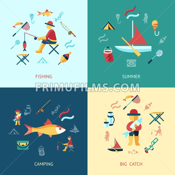 Digital vector fishing activity set collection decoration objects color simple flat icon with holding net or rod, summer camping, isolated - frimufilms.com