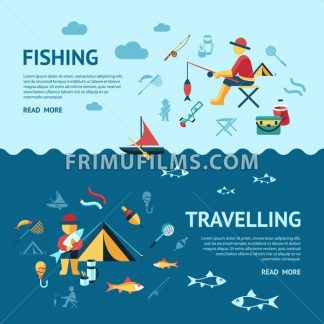 Digital vector fishing travelling activity infographics set collection decoration objects color simple flat icon with holding net or rod, isolated - frimufilms.com