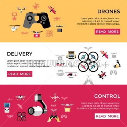Digital vector flying drone control delivery objects color simple flat icon set collection, isolated - frimufilms.com