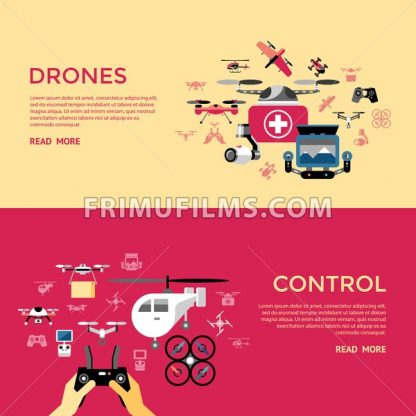 Digital vector flying drone control objects color simple flat icon set collection, isolated - frimufilms.com